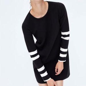 Zara Black Knit Dress White Striped Sleeves S NWT
